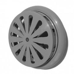 14-0435 Větrací mřížka s žaluzií a nastavitelným límcem d100-150 mm, šedá
