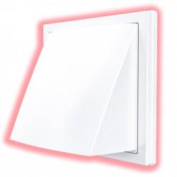 59-0200 Venkovní mřížka 150x150 / d100 mm, zpětnou klapkou a krytem, bílá