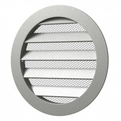 59-1075 Větrací hliníková mřížka s límcem d200 mm a síťkou, hliník
