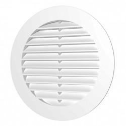 59-1226 Větrací mřížka kulatá SOLID s límcem d100 mm a síťkou, bílá