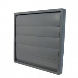 59-1464 Venkovní mřížka 150x150 s límcem d125 mm a gravitační žaluzií, šedá