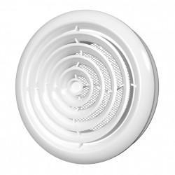 59-1608 Stropní větrací mřížka s límcem d125 mm, síťkou a montážním kruhem, bílá