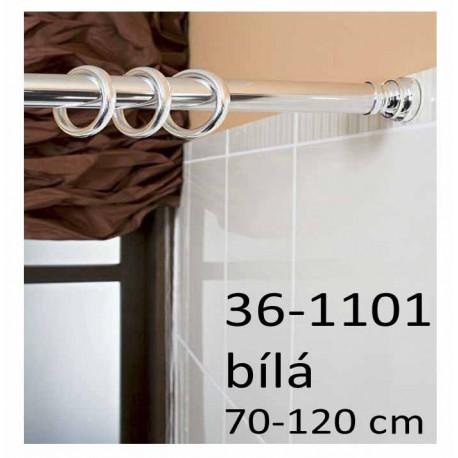 Koupelnová rozpěrná tyč na závěsy 70-120 cm, bílá 36-1101