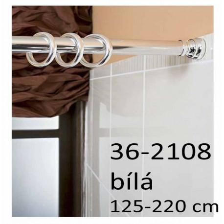 Koupelnová rozpěrná tyč na závěsy 125-220 cm, bílá 36-2108