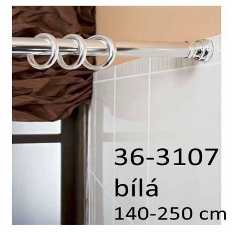 Koupelnová rozpěrná tyč na závěsy 140-250 cm, bílá 36-3107