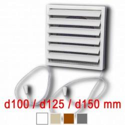 Větrací mřížka 140x140 mm s límcem d100 mm, žaluzií a síťkou, bílá
