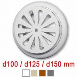 Větrací mřížka KOR s žaluzií a nastavitelným límcem d100-150 mm