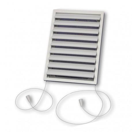 14-1555 Větrací mřížka plochá 141x200x18 mm s regulovatelnou žaluzií a síťkou proti hmyzu, bílá